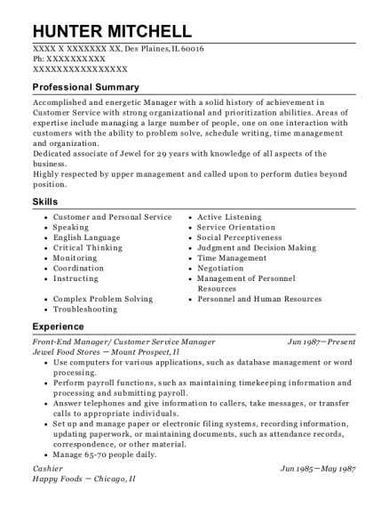 Front End Manager resume template Illinois