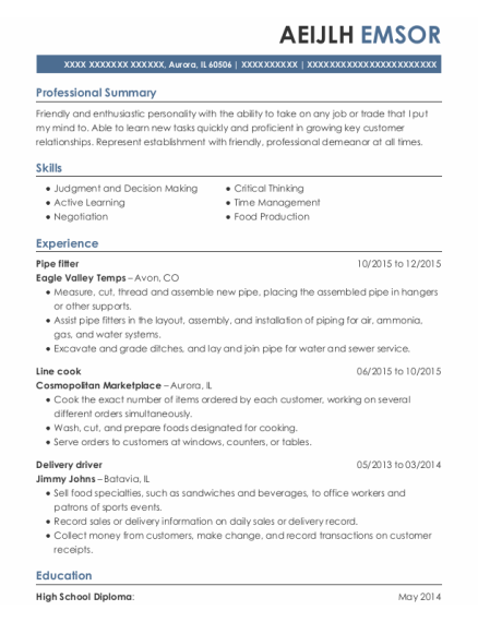 Pipe fitter resume example Illinois