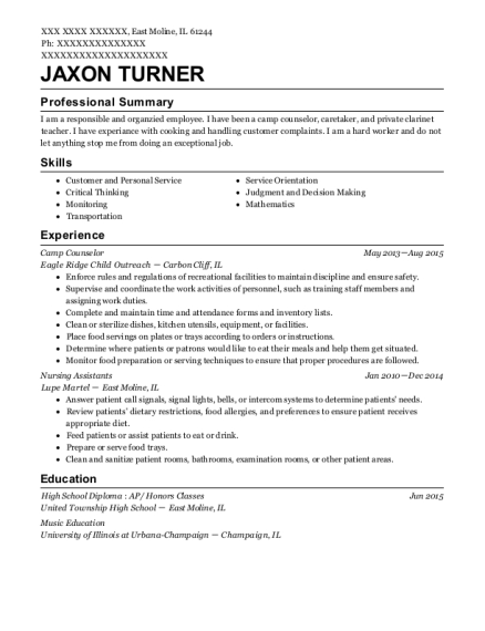 Camp Counselor resume format Illinois