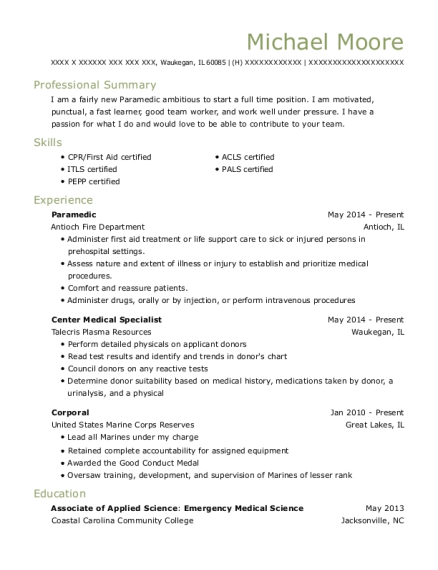 Paramedic resume example Illinois