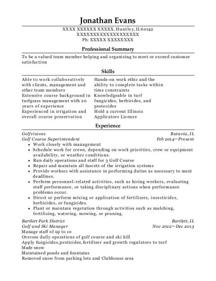 Golf Course Superintendent resume template Illinois