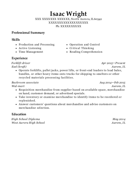 Forklift driver resume template Illinois