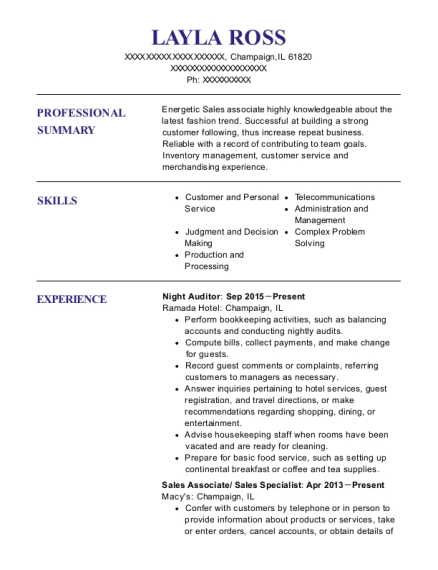 Night Auditor resume format Illinois