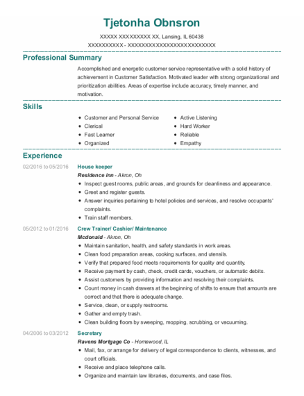 House keeper resume sample Illinois