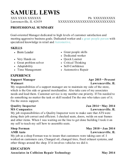 Support Manager resume template Illinois