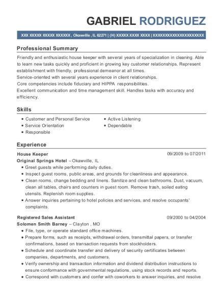 House Keeper resume template Illinois