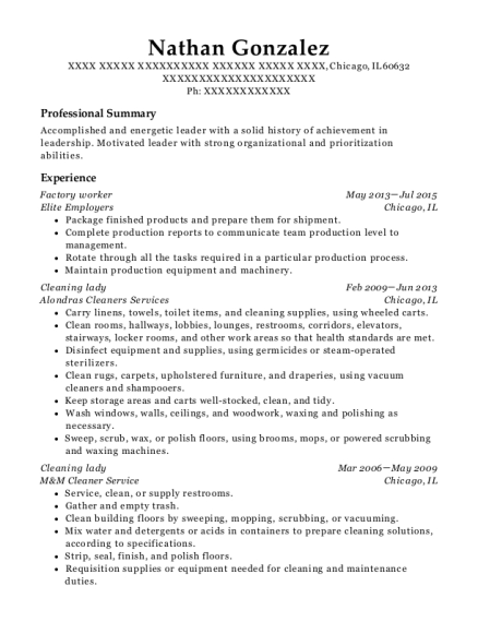 Factory worker resume template Illinois