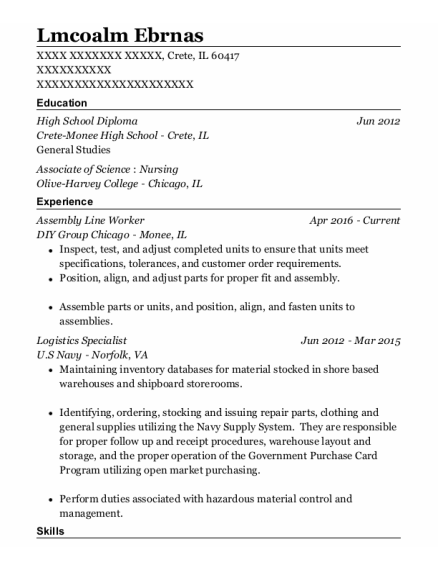 Assembly Line Worker resume format Illinois