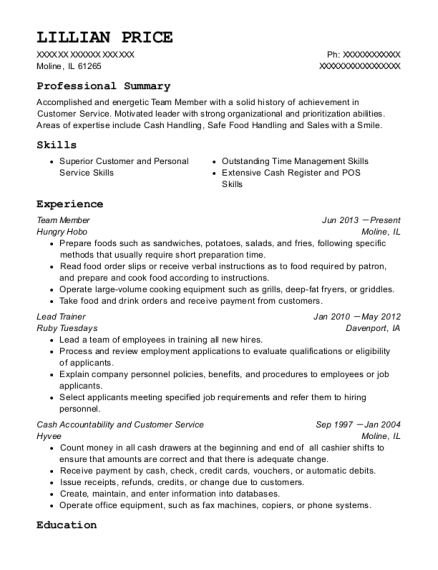 Team Member resume template Illinois