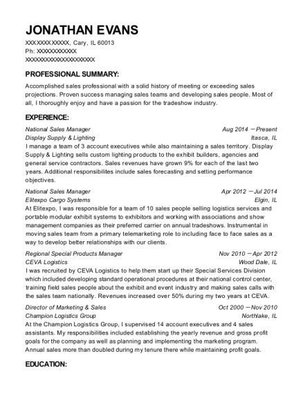 National Sales Manager resume sample Illinois