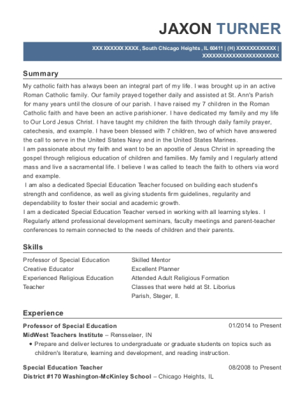 Professor of Special Education resume template Illinois