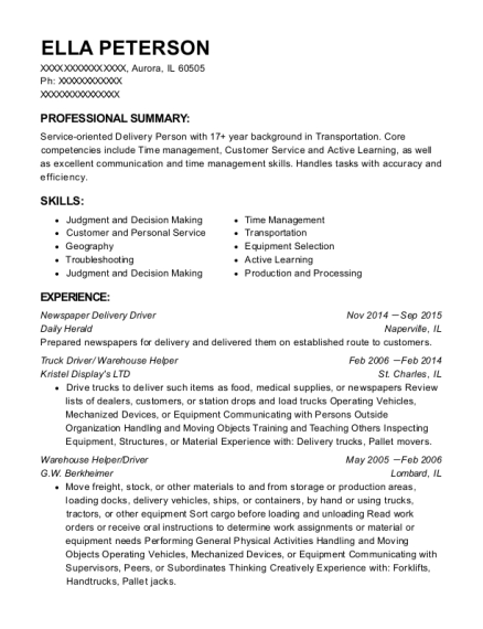Newspaper Delivery Driver resume template Illinois