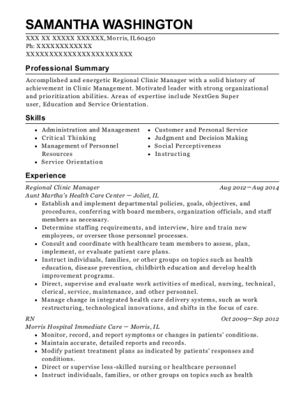 Regional Clinic Manager resume example Illinois
