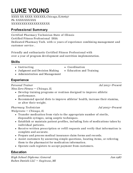 Personal Trainer resume sample Illinois