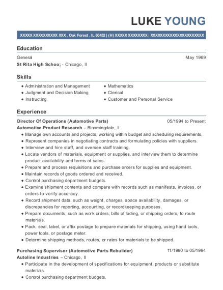 Director Of Operations resume template Illinois