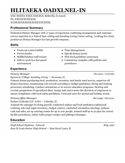 Dietary Manager resume template Illinois