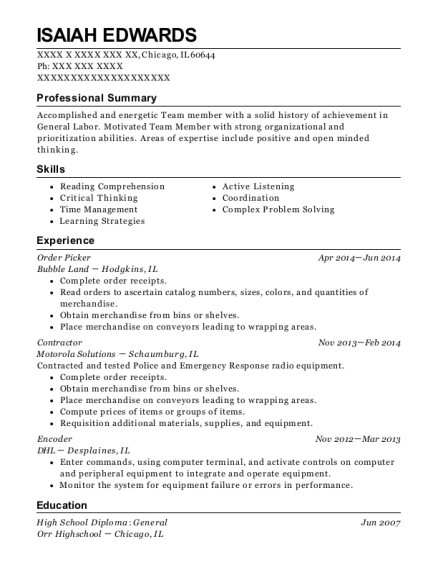 Order Picker resume example Illinois