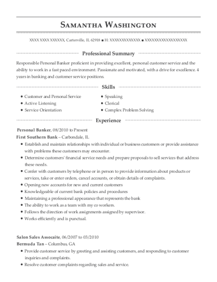 Personal Banker resume example Illinois
