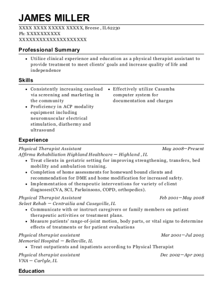 Physical Therapist Assistant resume sample Illinois
