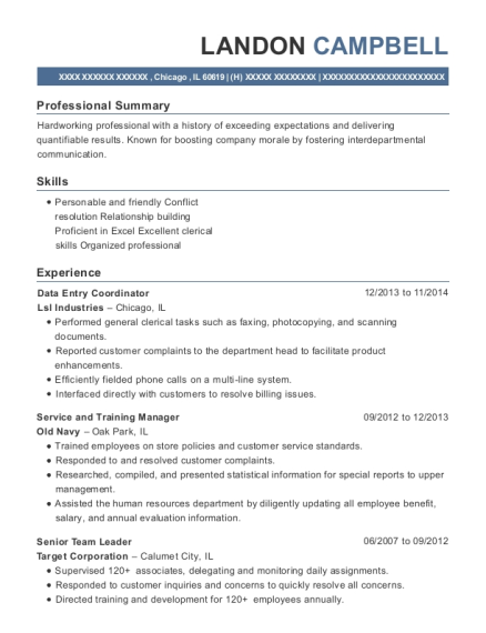 Data Entry Coordinator resume format Illinois