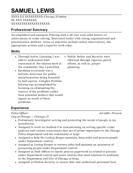 Police Officer resume example Illinois