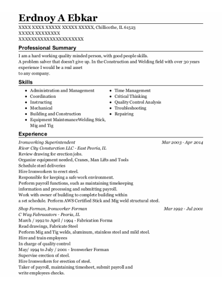 Shop Forman resume format Illinois