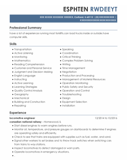 Locomotive Engineer resume template Illinois
