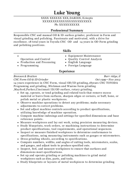 CNC Form OD & ID Grinder resume example Illinois