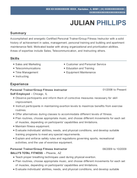 Personal Trainer resume format Illinois