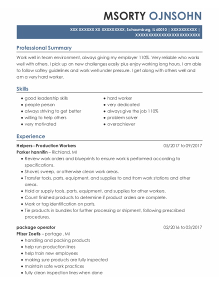 Cleaning Assistant resume template Illinois