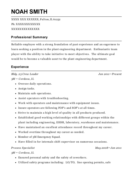 Bldg 23 Crew Leader resume example Illinois