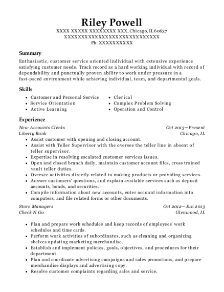 New Accounts Clerks resume format Illinois