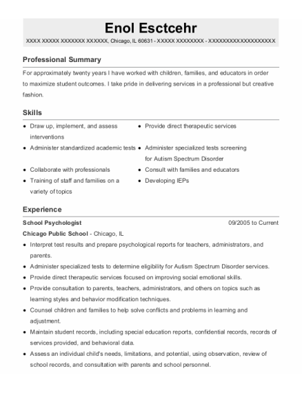 School Psychologist resume sample Illinois