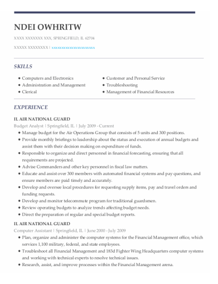 Budget Analyst resume example Illinois