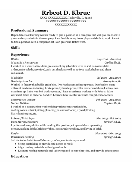 Waiter resume template Illinois