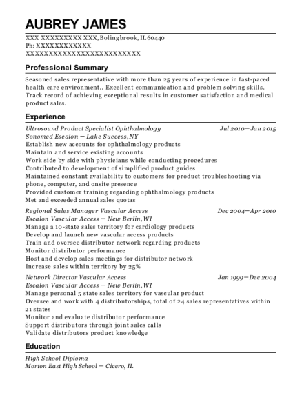 Ultrosound Product Specialist Ophthalmology resume example Illinois