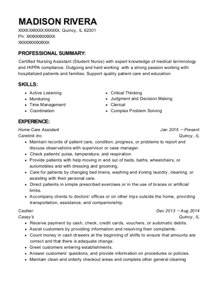 Home Care Assistant resume format Illinois