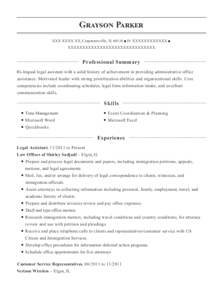 Legal Assistant resume format Illinois
