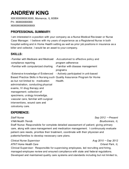 Staff Nurse resume sample Illinois