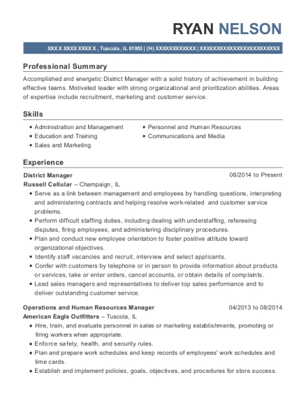 District Manager resume format Illinois