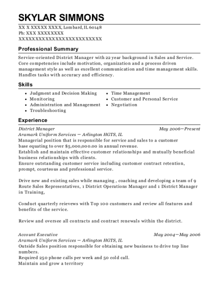District Manager resume example Illinois