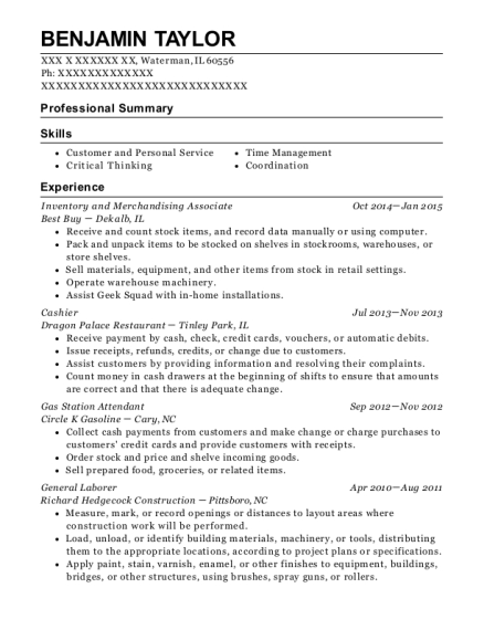 Inventory and Merchandising Associate resume template Illinois