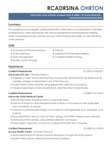 Certified Phlebotomist resume format Illinois