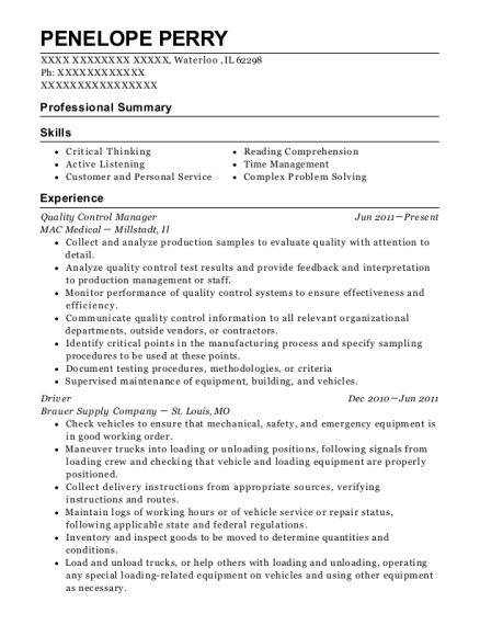 Quality Control Manager resume example Illinois