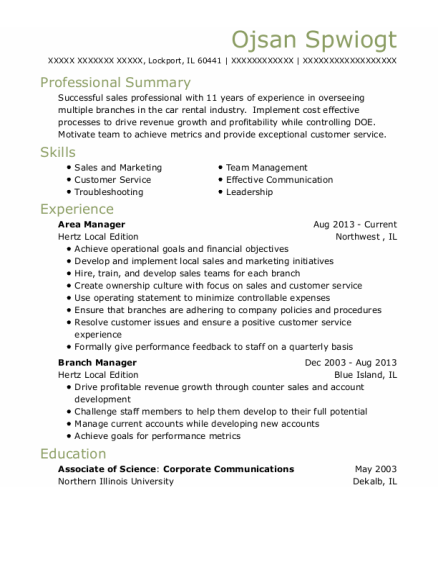Area Manager resume format Illinois
