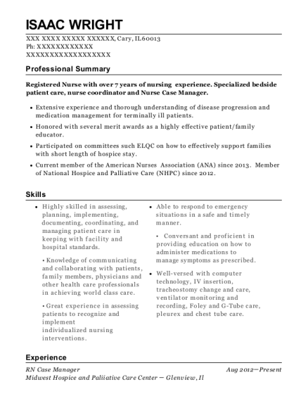 RN Case Manager resume sample Illinois