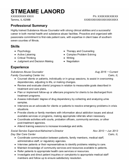 Substance Abuse Counselor resume example Illinois