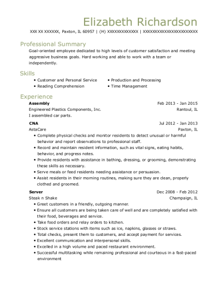 Assembly resume example Illinois