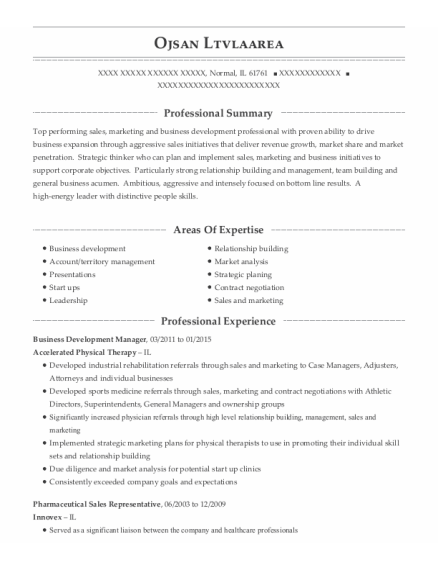 Business Development Manager resume format Illinois