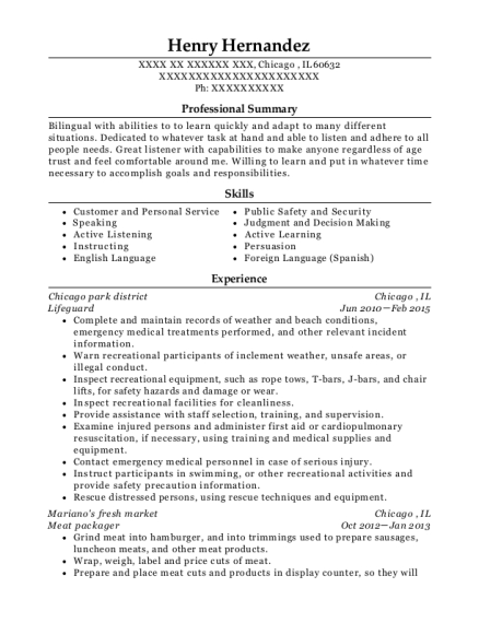 Lifeguard resume example Illinois